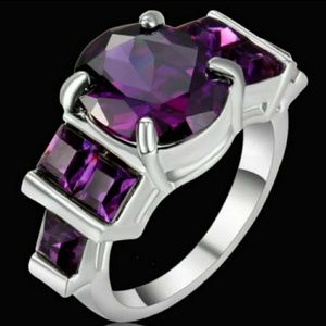 18KT White Gold filled purple Amethyst CZ Ring